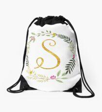 Floral and Gold Initial Monogram S Drawstring Bag