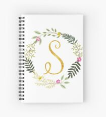 Floral and Gold Initial Monogram S Spiral Notebook
