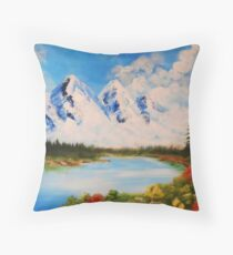 snowy moutains Throw Pillow