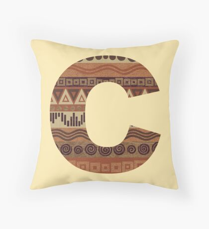 Letter C Leather Look Pattern Tribal Ethnic Monogram Initial Throw Pillow