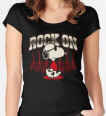 Snoopy Rock Women's Fitted Scoop T-Shirt