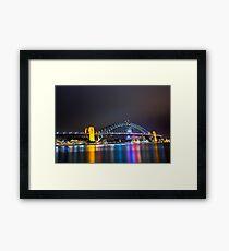 Sydney Harbour Bridge, Sydney, NSW, Australa - Night Time Lights Framed Print