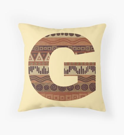 Letter G Leather Look Pattern Tribal Ethnic Monogram Initial Throw Pillow