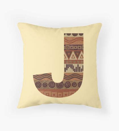 Letter J Leather Look Pattern Tribal Ethnic Monogram Initial Throw Pillow