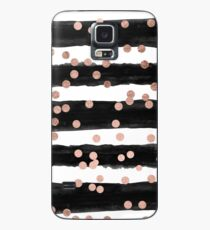 Girly rose gold confetti black watercolor stripes Case/Skin for Samsung Galaxy