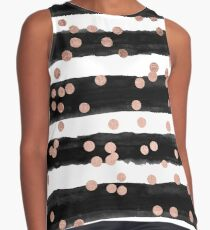 Girly rose gold confetti black watercolor stripes Contrast Tank