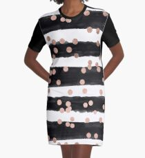 Girly rose gold confetti black watercolor stripes Graphic T-Shirt Dress