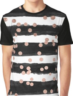 Girly rose gold confetti black watercolor stripes Graphic T-Shirt