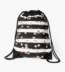 Girly rose gold confetti black watercolor stripes Drawstring Bag
