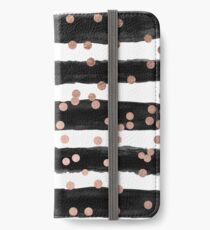 Vinilo o funda para iPhone Girly rose gold confetti black watercolor stripes