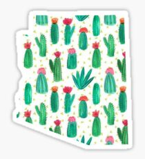 Arizona State Outline Watercolor Cacti Sticker