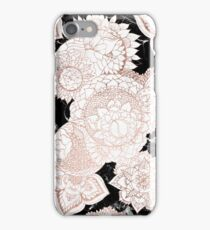 Modern rose gold floral mandala chic marble iPhone Case/Skin