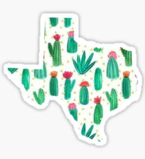 Texas Outline Watercolor Cacti Sticker