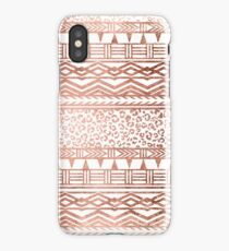 Modern rose gold leopard geometric aztec pattern iPhone Case/Skin