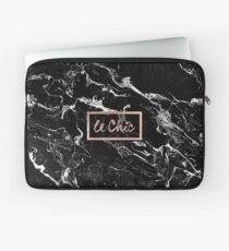 Rose gold marble stylish french le chic typography  Laptop Sleeve