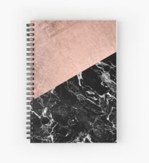 Chic modern rose gold black marble color block Spiral Notebook