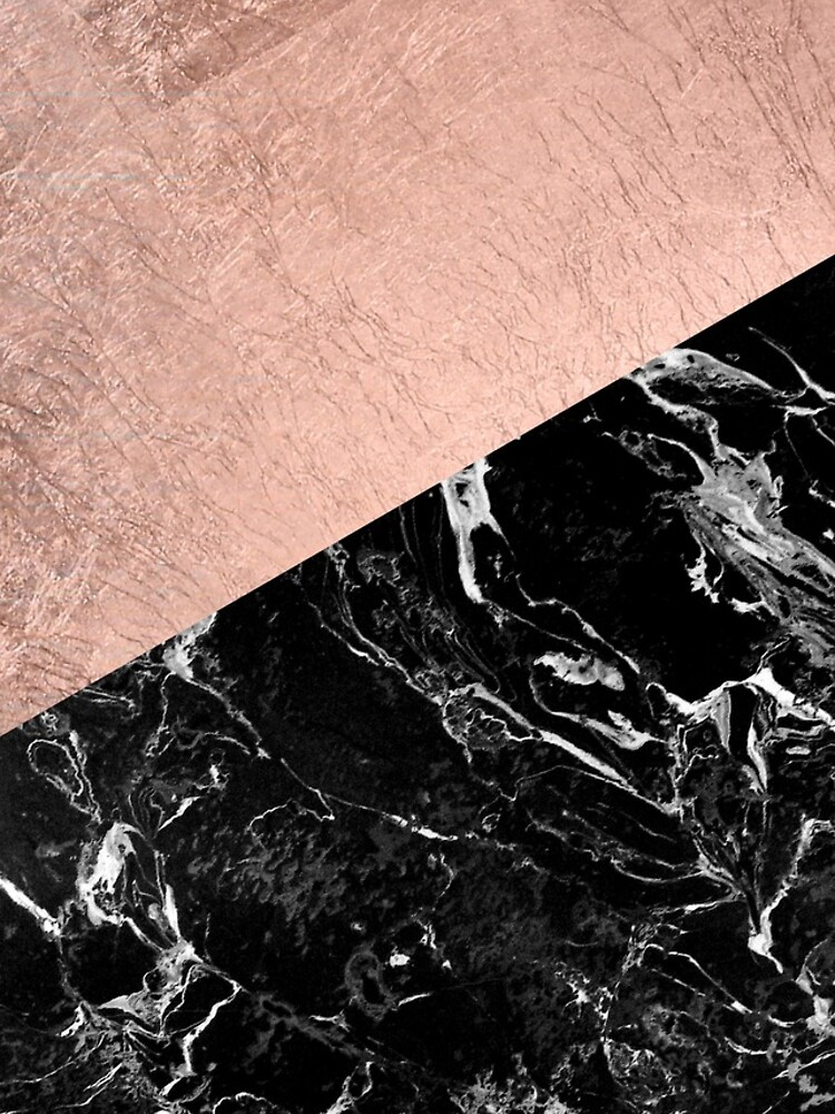 Schicker moderner rosafarbener Goldschwarzmarmorfarbblock von GirlyTrend