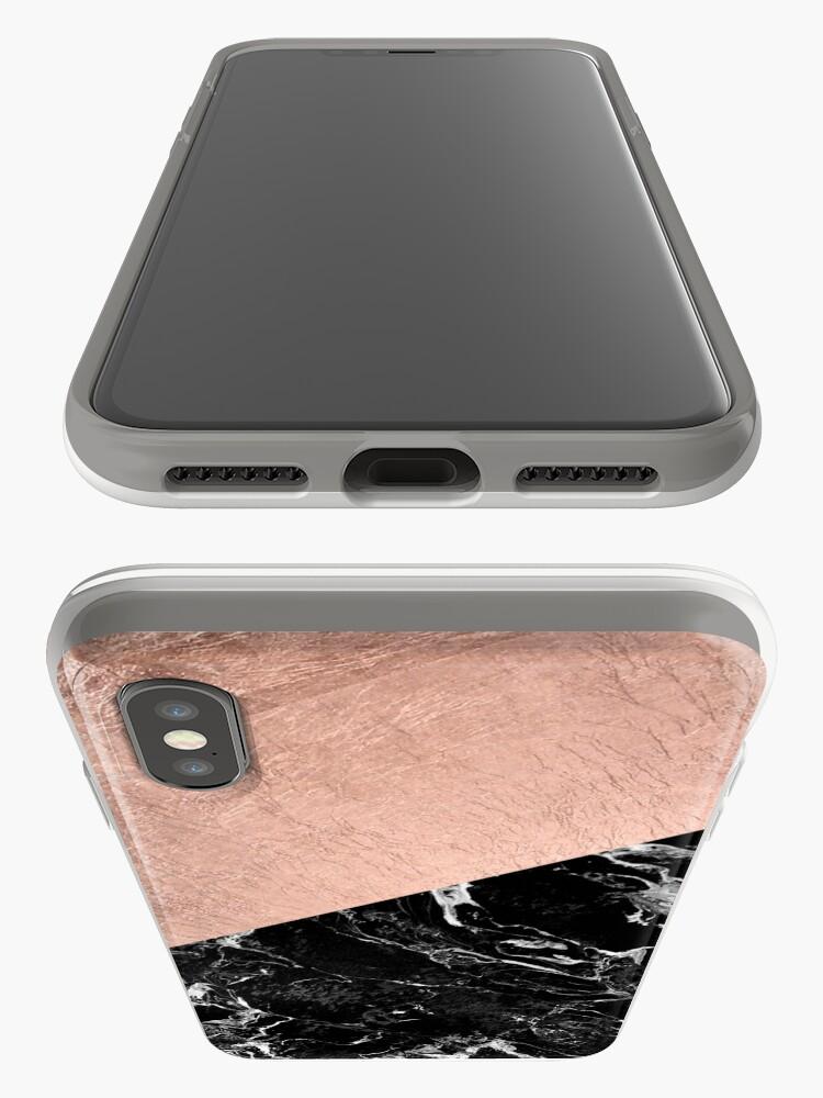 Alternative Ansicht von Schicker moderner rosafarbener Goldschwarzmarmorfarbblock iPhone-Hülle & Cover