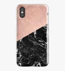 Chic modern rose gold black marble color block iPhone Case/Skin