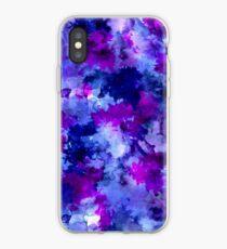 Modern blue purple watercolor brushstrokes iPhone Case