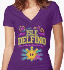 Isle Delfino Women's Fitted V-Neck T-Shirt