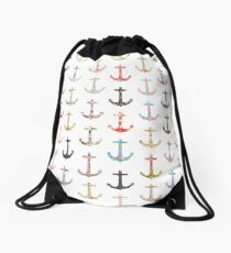 Vintage retro sailor girly floral nautical anchors Drawstring Bag