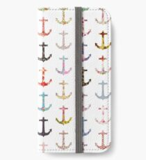 Vintage retro sailor girly floral nautical anchors iPhone Wallet/Case/Skin