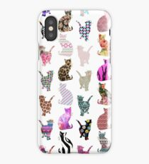 Girly Whimsical Cats aztec floral stripes pattern iPhone Case
