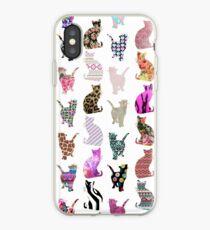 Vinilo o funda para iPhone Girly Whimsical Cats azteca rayas florales patrón
