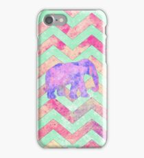 Whimsical Purple Elephant Mint Green Pink Chevron iPhone Case/Skin