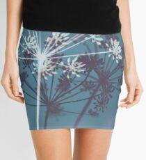 Twilight Stars. Botanical Macro Abstract Art. Dark Floral Mini Skirt