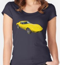 1975 Corvette Stingray Muscle Car Women's Fitted Scoop T-Shirt