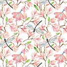 Dragonflies and Pink Magnolia Flowers by SpiceTree