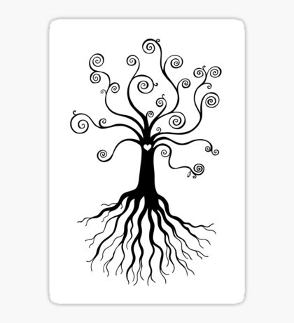 Tree of Life - black and white by Cecca Designs Sticker