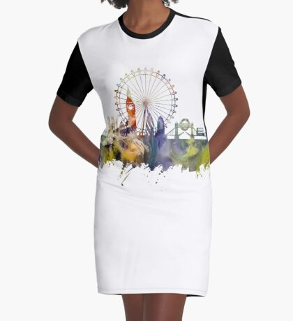 London skyline colored London Eye Graphic T-Shirt Dress