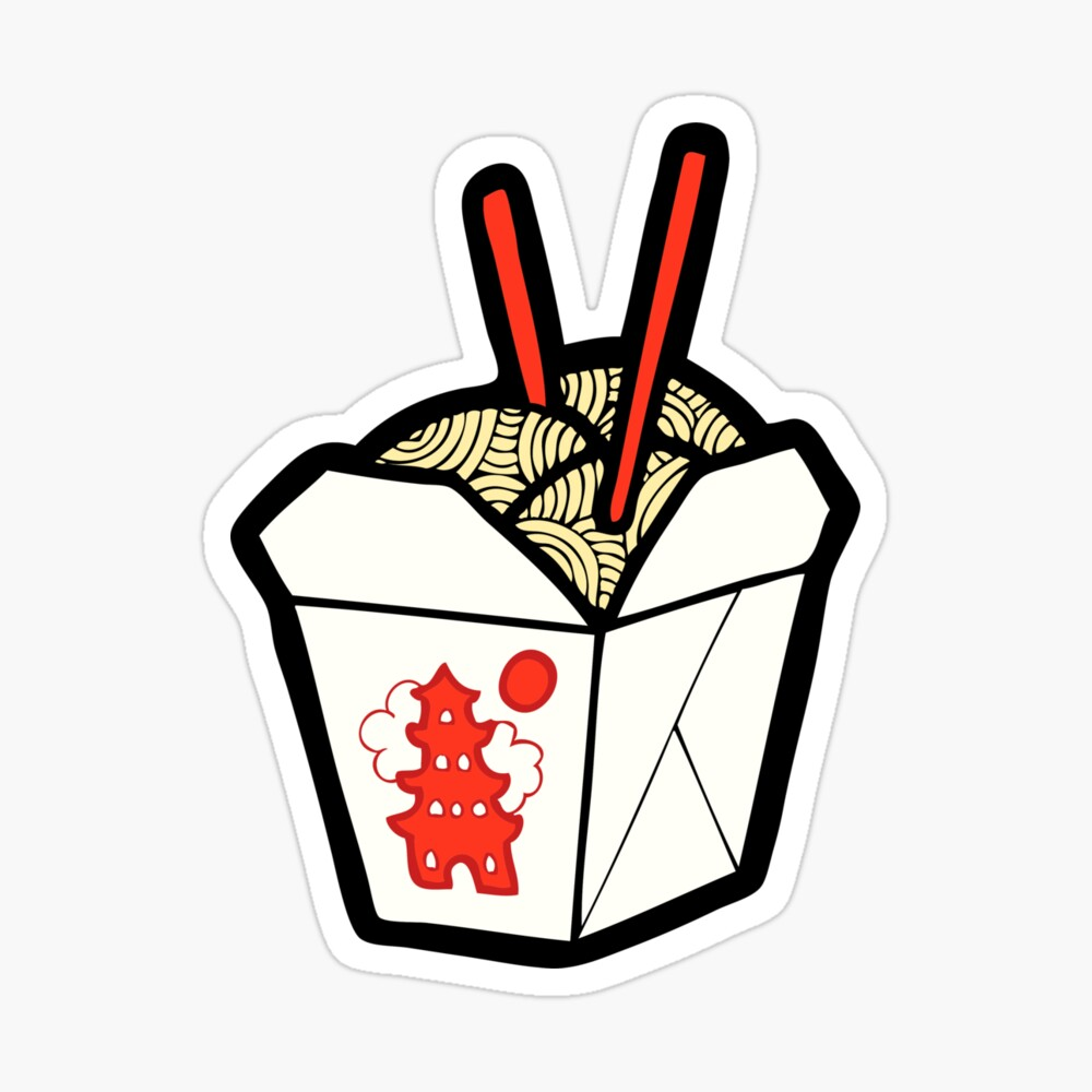 Take-Out Noodles Box Pattern Sticker