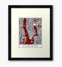 Map of Manhattan - Red  Framed Print