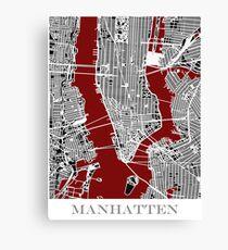 Lienzo Map of Manhattan - Red