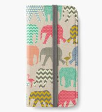 linen baby elephants and flamingos iPhone Wallet/Case/Skin