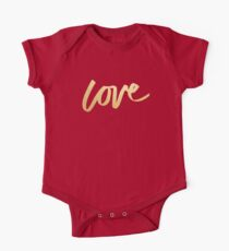 Love Gold Black Typography One Piece - Short Sleeve