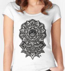 Eye of God Flower Mandala Women's Fitted Scoop T-Shirt