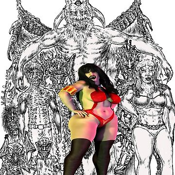 Vampirella and Fiends at the entrance of golden, pearly gates of HEATHEN...!!! by alphaartstudios