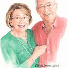 Christmas grandparents watercolor by Mike Theuer