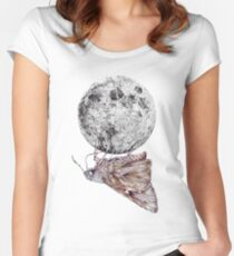 In which a moth is enticed by the light of the moon Women's Fitted Scoop T-Shirt