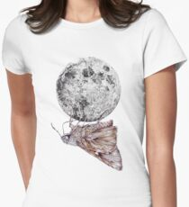 In which a moth is enticed by the light of the moon Women's Fitted T-Shirt