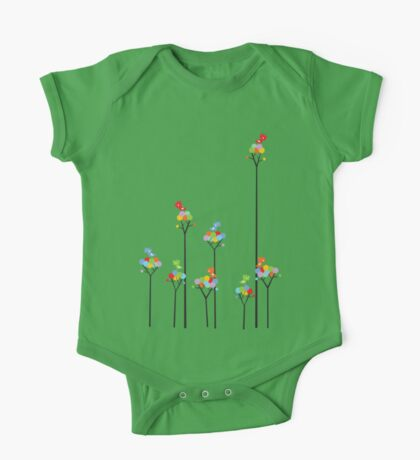 Colorful Tweet Birds On Dotted Trees With Dark Branches Kids Clothes