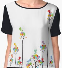 Colorful Tweet Birds On Dotted Trees With Dark Branches Women's Chiffon Top