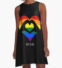 Love Is Love LGBT Rainbow Heart  A-Line Dress