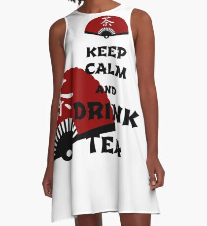 keep calm and drink tea - asia edition A-Linien Kleid