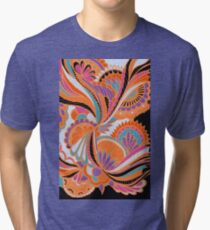 Orange and Black Abstract Floral Zentangle Tri-blend T-Shirt